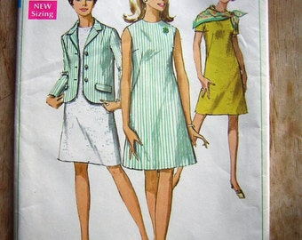 Vintage 60's Jacket and Dress Pattern Simplicity 7641 Sz 16 Bust 38