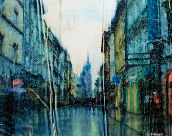 Krakow (n.330) - 48 x 85 x 2,50 cm - ready to hang - mix media painting on stretched canvas