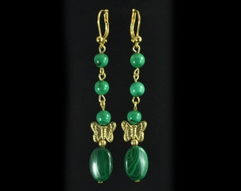 Earrings malachite