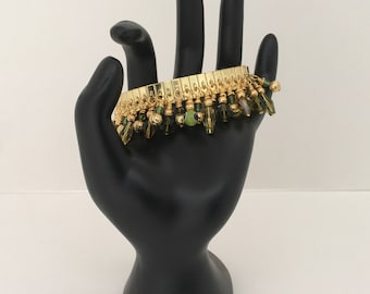 Green charms bracelets,stretch bracelet, funky bracelet