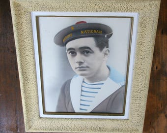 """Sailor in uniform colorized photograph, 21x17"""", framed French young sailor from the Marine Nationale, Navy,militaria, uniform, signed, 1930s"""