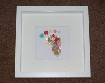 Baby foot print Box Frame - multicoloured buttons