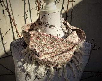 Handwoven short cowl scarf with fringe