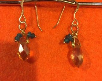 Champagne crystal and gemstone earrings, sapphire and crystal earrings
