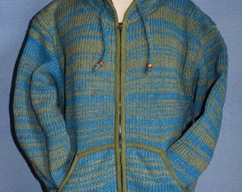 Hand knitted Turquoise and Khaki Wool Jacket