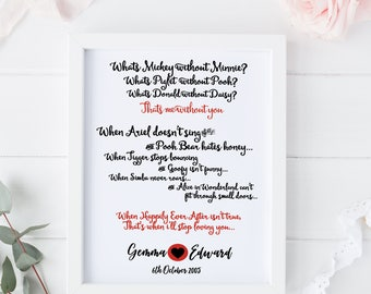 Personalised Disney Print - Anniversary gift / engagement / wedding / birthday present