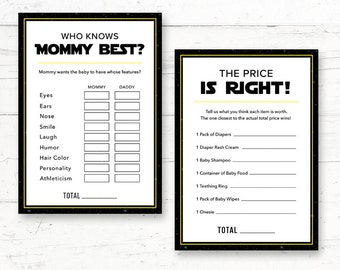 Star Wars Baby Shower Games Pack - 2 Games - Who Knows Mommy Best & The Price is Right Games - Instant Download