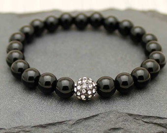 Black agate beaded bangle with pave ball