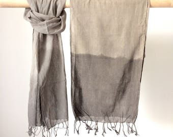 Naturally dyed scarf - lightweight organic cotton voile dyed naturally grey with tea and iron, dip dyed scarf