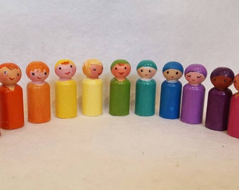 Waldorf Pegdoll Rainbow Family Foundation Set. Open ended creative toy, Imagination development, Small world playset *GREAT VALUE SAVINGS*
