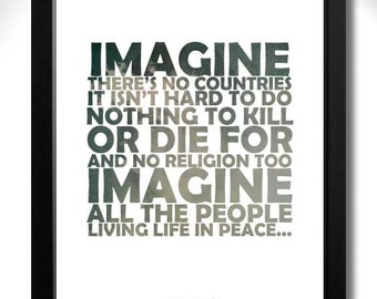 JOHN LENNON - IMAGINE Limited Edition A4 Art Print with Lyrics