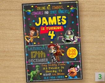 Toy Story Invitation, Toy Story Birthday Party Invite, Toy Story Chalkboard Custom Card, Birthday Invitation Disney Pixar Toy Story