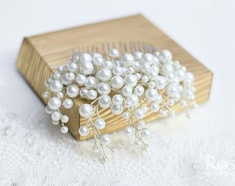 Pearl Hair Comb, Bridal White Pearl Hair Comb, White Beads Hairpiece, Bridal Hairpiece, Wedding Hair Accessory