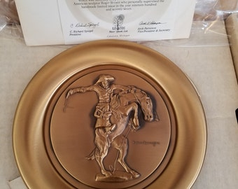"""Frederic Remington """"The Bronco Buster"""" Commemorative Plate 1977"""