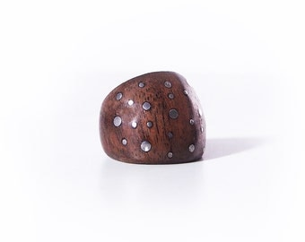 Wooden ring and Silver tips