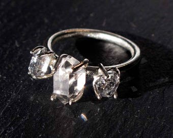 Three Stone Herkimer Diamond Sterling Silver Ring - 3 Stone Ring— Engagement Ring