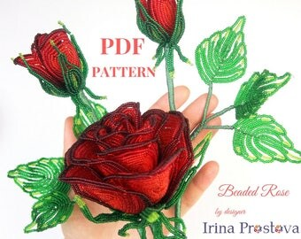 PDF pattern, Beaded rose, French Beaded Flowers, Seed bead flower tutorial, PDF Tutorial, Bead weaving Tutorial, Flower Pattern, Red rose