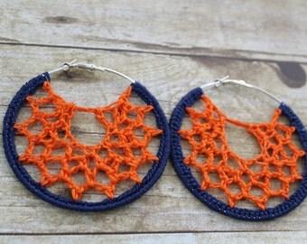 Crochet webbed earrings