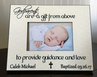 Godfather baptism Picture Frame gift // gift for godparents // Christening photo frame