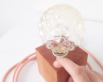 Minimal Wood Block Lamp Crystal Bulb