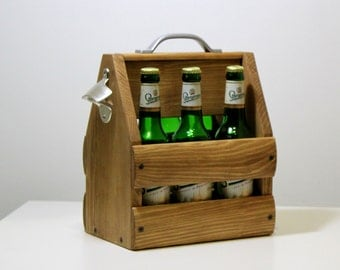 Wooden six pack beer carrier, Wooden Beer Carrier, Wooden Beer Caddy, Valentine's Day gift, Personalized Birthday Gift