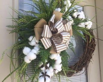 Cotton Double Front Door Wreath, Summer Wreaths, Double Front Door Wreath