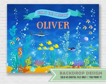 Under The Sea Birthday Party Backdrop Banner // DIGITAL FILE Only
