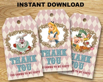Alice in Wonderland Thank You Tag/ Favor Tag/ Gift Tag/ Instant Download