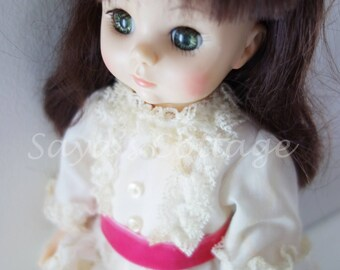 "Vintage Madame Alexander Degas Girl 14"" with Original Box  Collectible Green Eyes Doll in White Eyelet Dress"