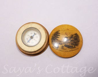 Antique Rare Working Mauchline Ware Compass in Box Bradford Springs Hotel, Bradford. N.H Pocket Wooden Compass Nautical Decor Collectible