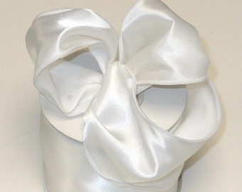 """Satin wired ribbon 2.5"""" x 10 yards, white color"""