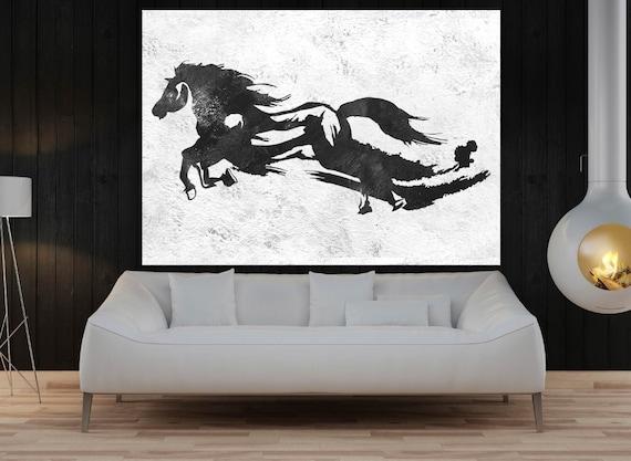 große wand-kunst für wohnzimmer pferd rennen original-gemälde, Wohnzimmer