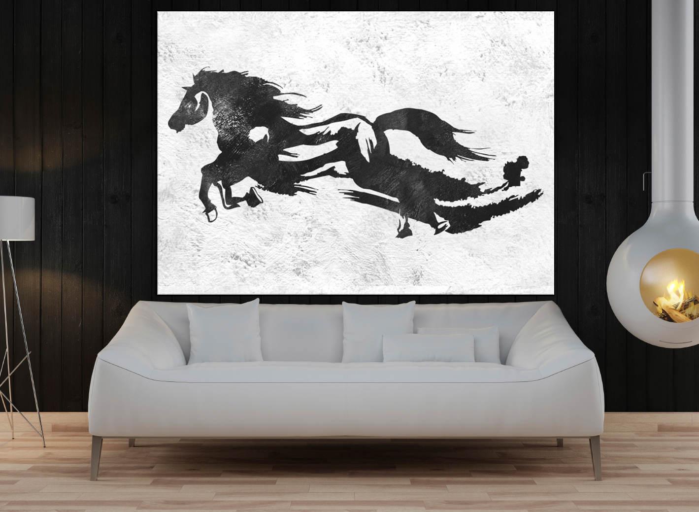 große Wand-Kunst für Wohnzimmer Pferd Rennen original-Gemälde