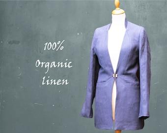 organic linen jacket, blazer biological linen, fair trade jacket, recyclable jacket, fair fashion, sustainable clothing