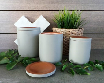 Small Lux Concrete Range - Copper or Gold - Natural Soy Wax - Container Candle