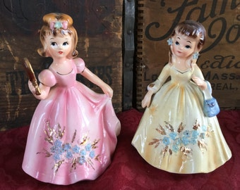 Pair of Vintage 1950's Marikas Originals by Lefton. Birthday Girl and Forget me Knots Girls
