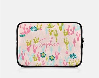 Personalized iPad Sleeve, Monogram iPad Sleeve, iPad Mini Sleeve, Cactus iPad Sleeve, Kindle Sleeve, Pink iPad Sleeve, Cactus Tablet Sleeve