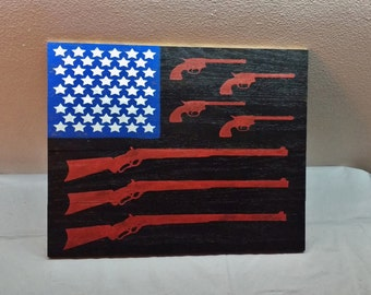 Gun and rifle american flag patriotic wood sign