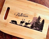Personalized Gifts for Clients, Bamboo Cutting Board, Customized, Name Gift, Outdoor, Wildlife, Deer, Camping, Rustic, Wedding Gift
