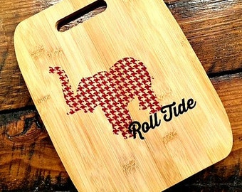 Personalized Gifts for Clients, Bamboo Cutting Board, Customized, Alabama, Roll Tide, Sports Team, Elephant