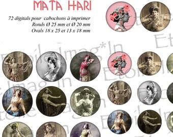 Board 72 digital * Mata Hari * to print for cabochons
