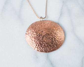 Round Hammered Copper Pendant