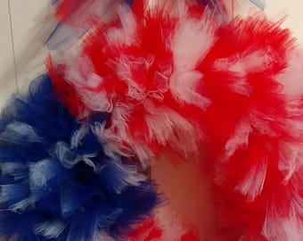 Patriotic Wreath, Fourth of July Wreath, Red White and Blue Wreath, Tulle Wreath, Summer Wreath, Front Door Wreath, Patriotic Decor