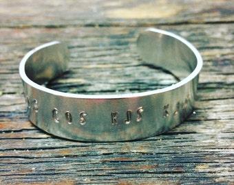 Custom stamped metal cuff bracelet
