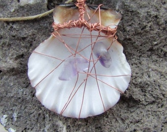 Shell with Amethyst Wrapped in Copper