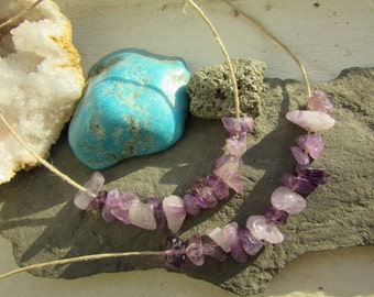 15 Crystal Amethyst and Hemp Necklace