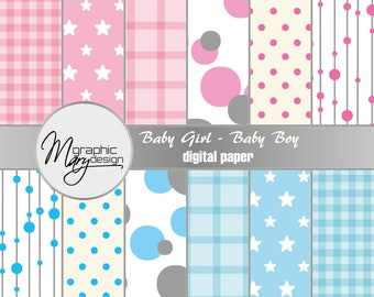 12 Digital cards for scrapbooking, baby and baby scrapbooking, printable, pink paper, blue paper