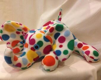 Bright Elephant toy, Elephant Softie, cuddly soft fleece children's toy, personalised poka dot elephant , gift for new baby, Elephant gift
