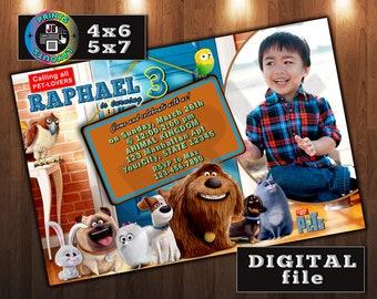 Secret Life of Pets Invitation, Birthday, CUSTOM Digital File, Any age, With Photo, Jpeg