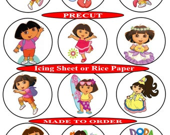 Dora The Explorer pre-cut edible  cupcake toppers, 2 sizes